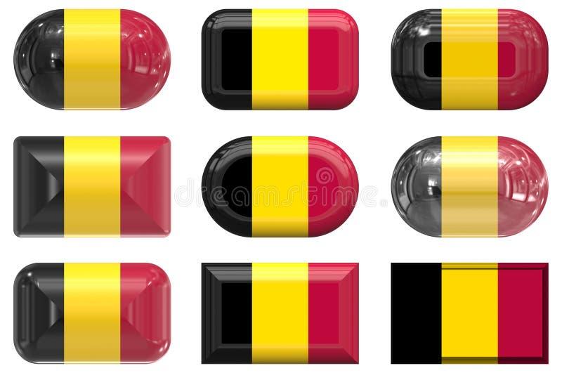 Бельгия застегивает стекло 9 флага иллюстрация вектора