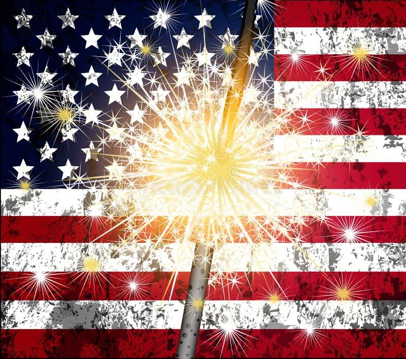 Бенгальский огонь и флаг США бесплатная иллюстрация