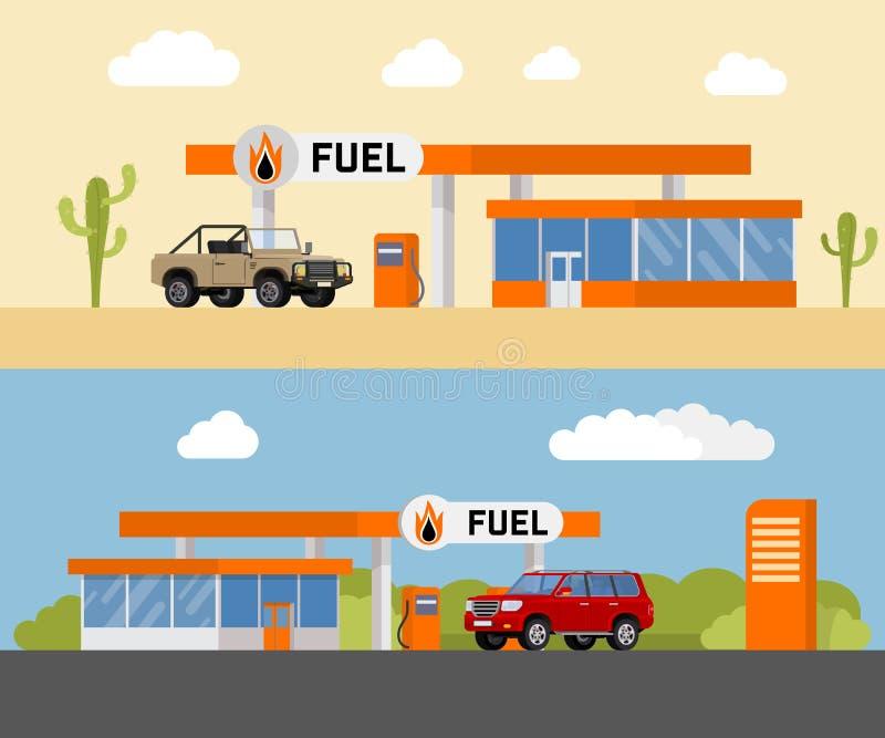 Бензозаправочная колонка топлива концепции с автомобилем SUV Бензоколонка и насос для подачи топлива с магазином также вектор илл иллюстрация штока