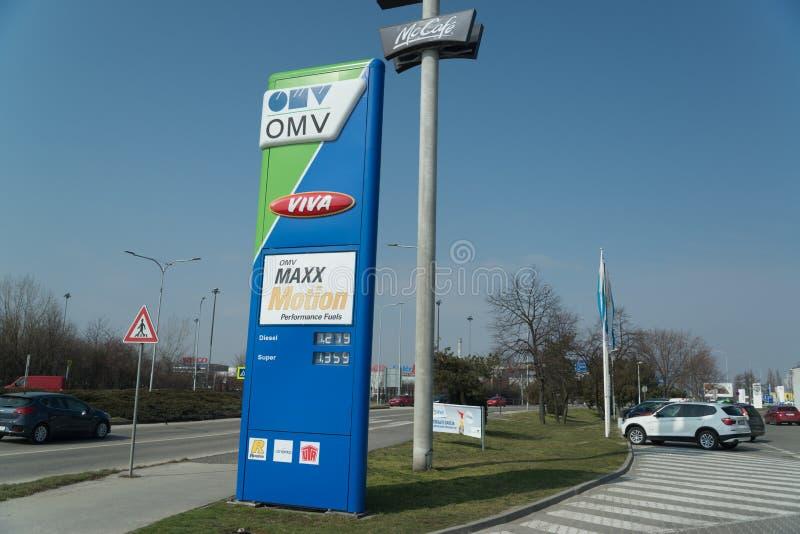 Бензоколонка нефти OMV стоковые изображения rf