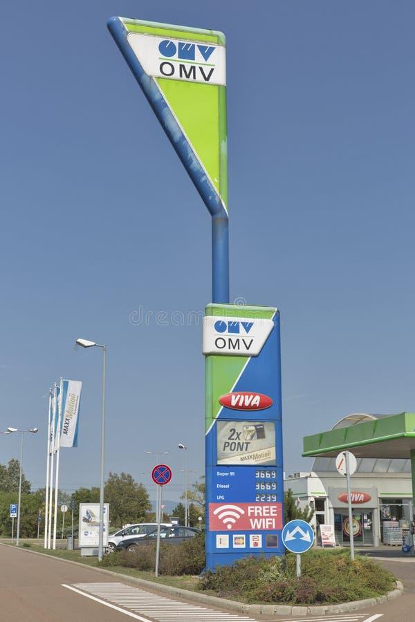 Бензоколонка нефти OMV в Венгрии стоковые фото