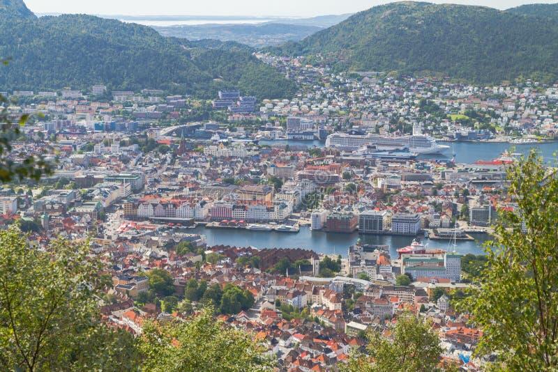 Берген Норвегия сверху стоковое фото rf