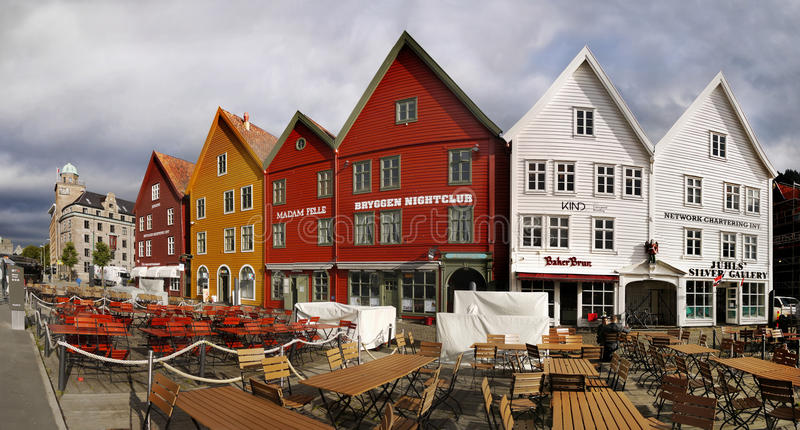 Берген, Bryggen, ориентир ориентир, Норвегия стоковая фотография rf