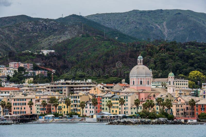 Береговая линия Genova и пляж, Pegli стоковое изображение