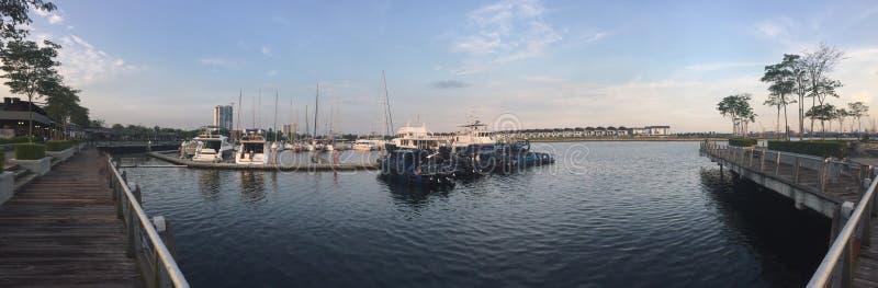 Берег Малайзия залива Johore порта молы стоковое фото rf