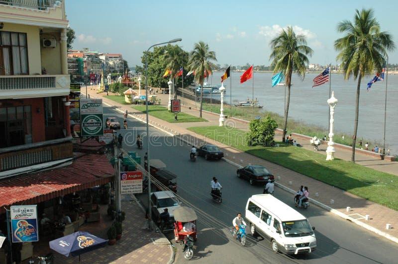 Берег реки Phmon Penh стоковое изображение rf