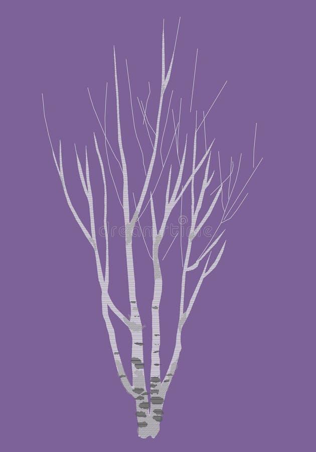 Береза зимы, покрашенное изображение стоковое изображение