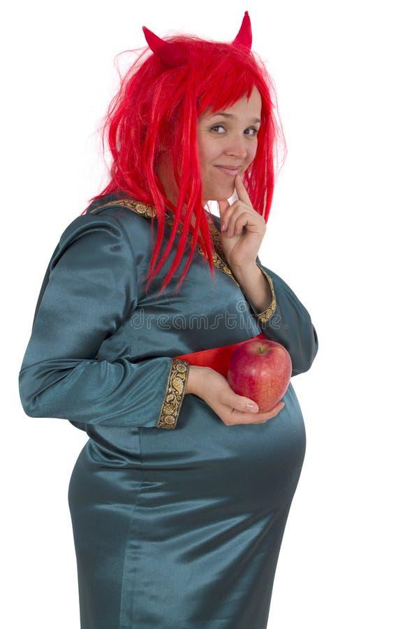 Беременная женщина в костюме масленицы стоковое изображение rf
