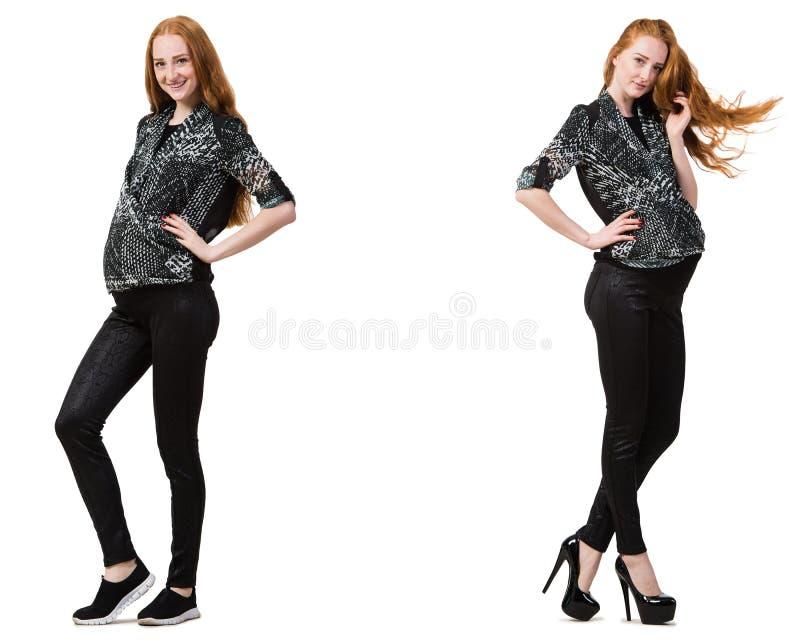 Беременная женщина в составном изображении изолированная на белизне стоковое фото rf