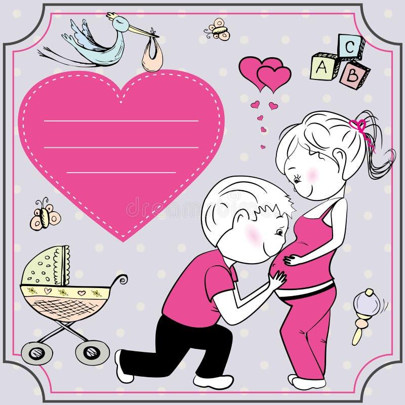 Беременная женщина и ее супруг, поздравительная открытка или знамя иллюстрация штока