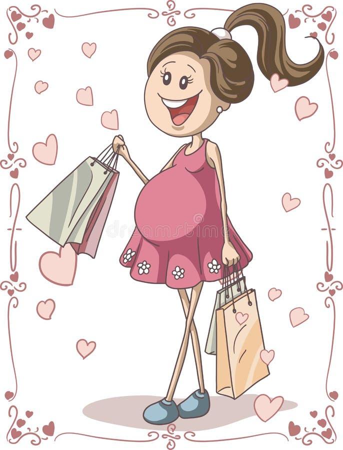 Беременная женщина с хозяйственными сумками иллюстрация штока