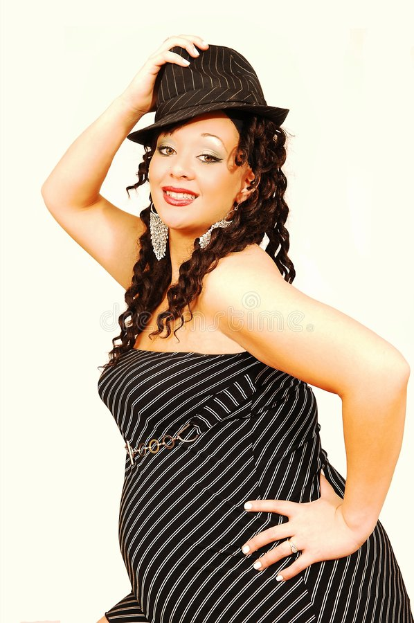 беременная женщина шлема платья стоковое изображение