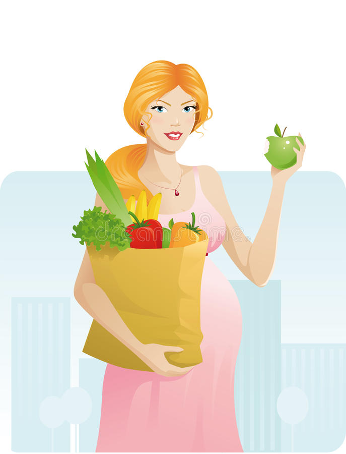 беременная женщина яблока красивейшая бесплатная иллюстрация