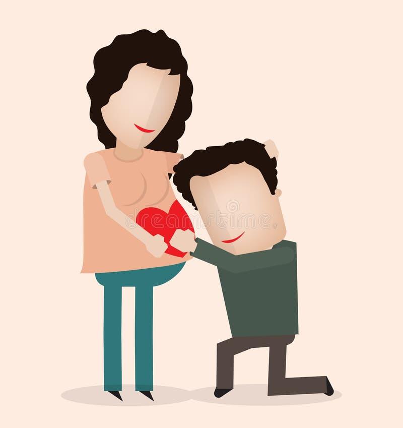 Беременная и супруг иллюстрация вектора