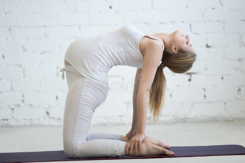 Беременная молодая женщина делая пренатальную йогу Представление верблюда стоковые изображения rf