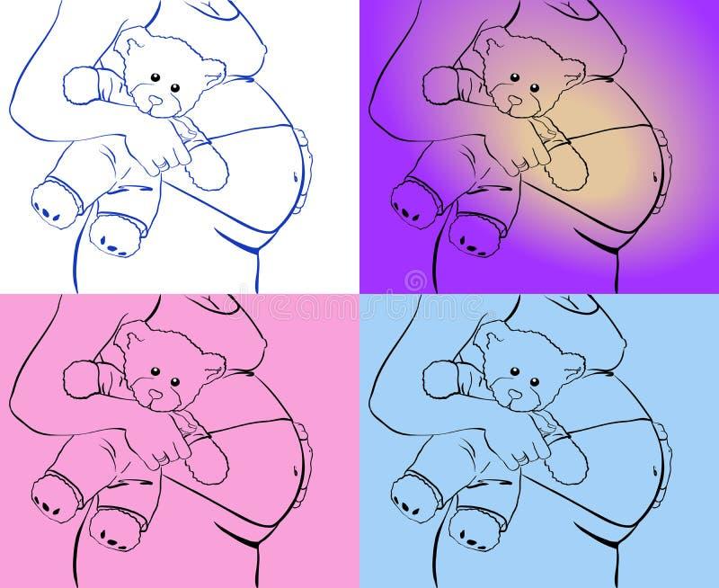 Беременная рука живота держит плюшевый медвежонка иллюстрация вектора