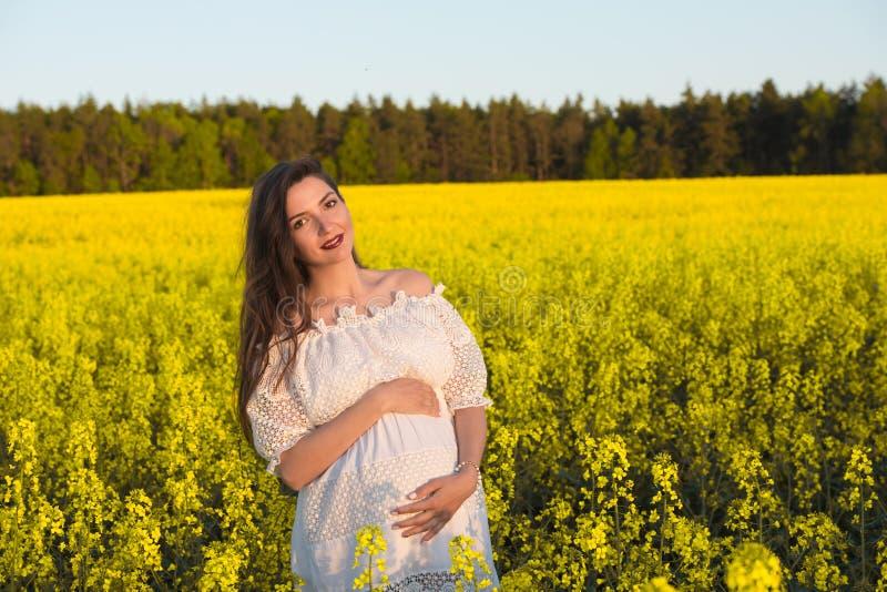 Беременная счастливая женщина касаясь ее животу Беременный средн-достигший возраста портрет матери лаская ее живот и усмехаясь ко стоковые изображения rf