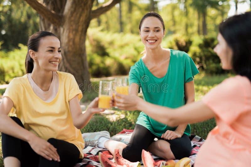 3 беременной женщины сидят в парке на половике для пикников и едят Они все ся Они clink стекла с соком стоковые фотографии rf
