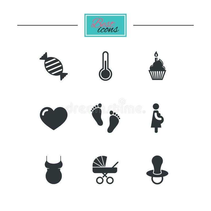 Download Беременность, материнство и значки заботы младенца Иллюстрация вектора - иллюстрации насчитывающей footprint, черный: 81805040