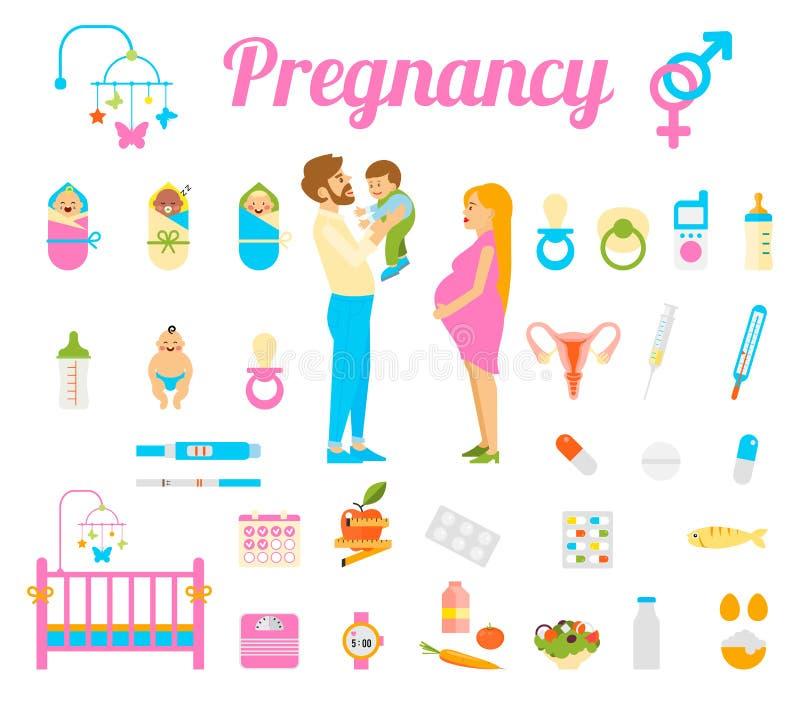 Беременность, рождение и newborn младенец vector значки иллюстрация штока