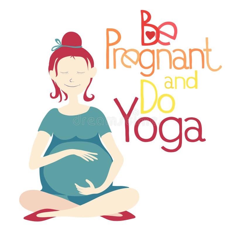 Беременный и сделайте йогу иллюстрация вектора