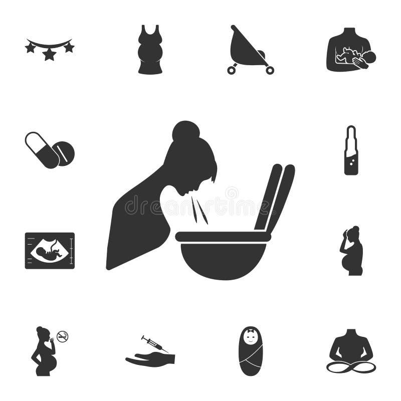 Беременный тошнить значок Простая иллюстрация элемента Беременный тошнить дизайн символа от комплекта собрания беременности Может стоковое фото rf