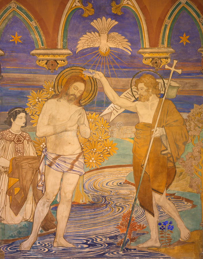 БЕРЛИН, ГЕРМАНИЯ, 16 -ГО ФЕВРАЛЬ -, 2017: Фреска крещения Иисуса в церков St Pauls evengelical стоковое изображение rf