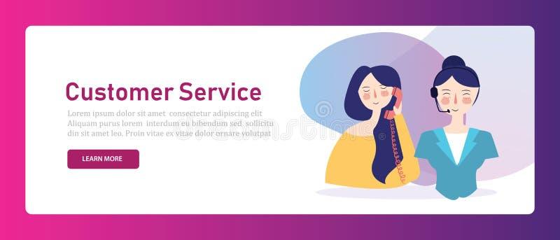 Беседа консультанта женщины центра телефонного обслуживания обслуживания клиента Помощь поддержать ассистента горячей линии Иллюс иллюстрация вектора