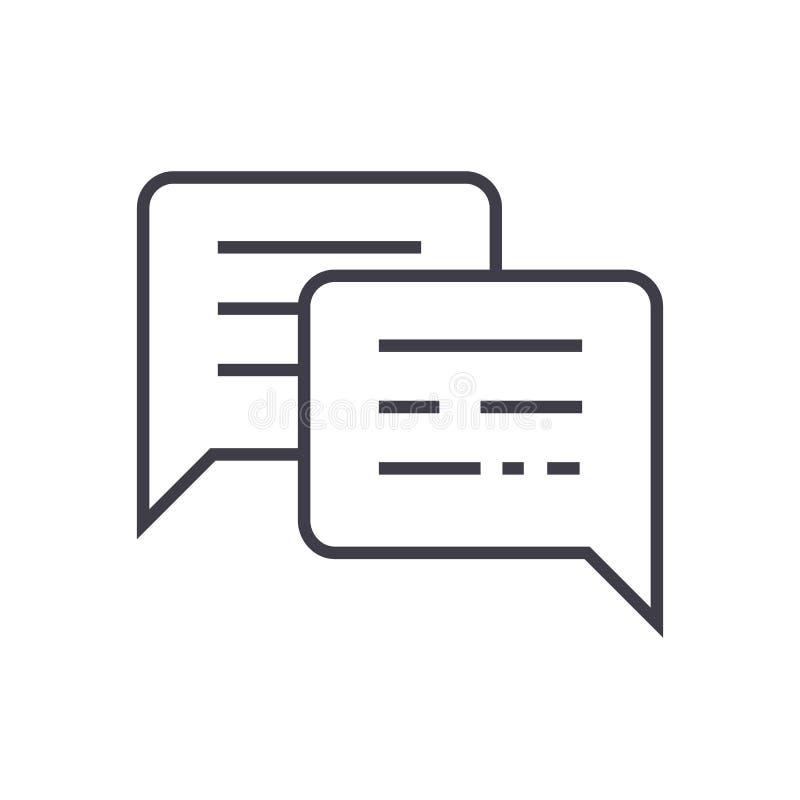 Беседовать, сообщения vector линия значок, знак, иллюстрация на предпосылке, editable ходах бесплатная иллюстрация
