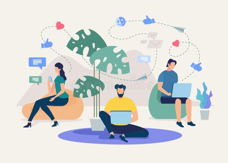 Беседовать с друзьями в социальном векторе сети иллюстрация штока