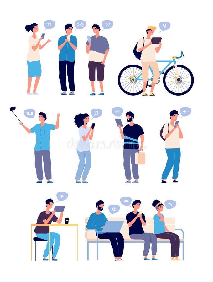 Беседуя люди Люди в онлайн разговорах, искать друзей интернета Связь сети с мобильным телефоном иллюстрация вектора