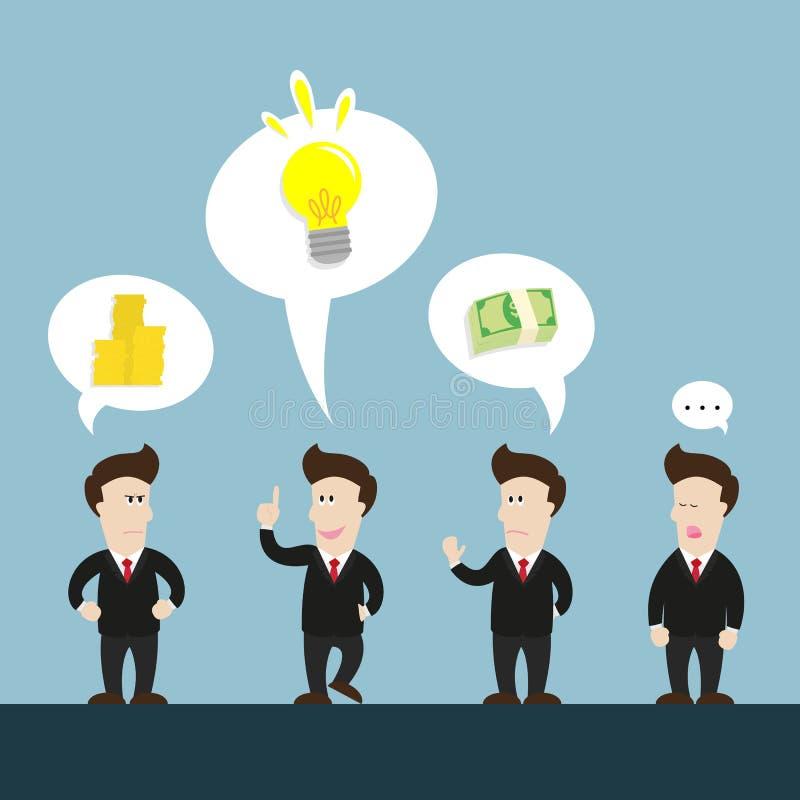 Беседа бизнесмена о новой идее противоречьте иллюстрация штока