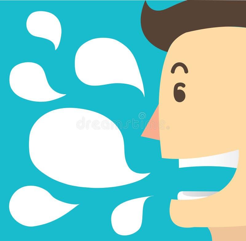 Беседа и болтовня шаржа человека кладут вектор в коробку предпосылки иллюстрация штока