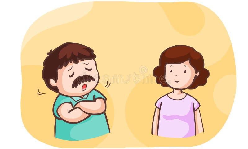 Беседа супруга о проблеме к его жене бесплатная иллюстрация