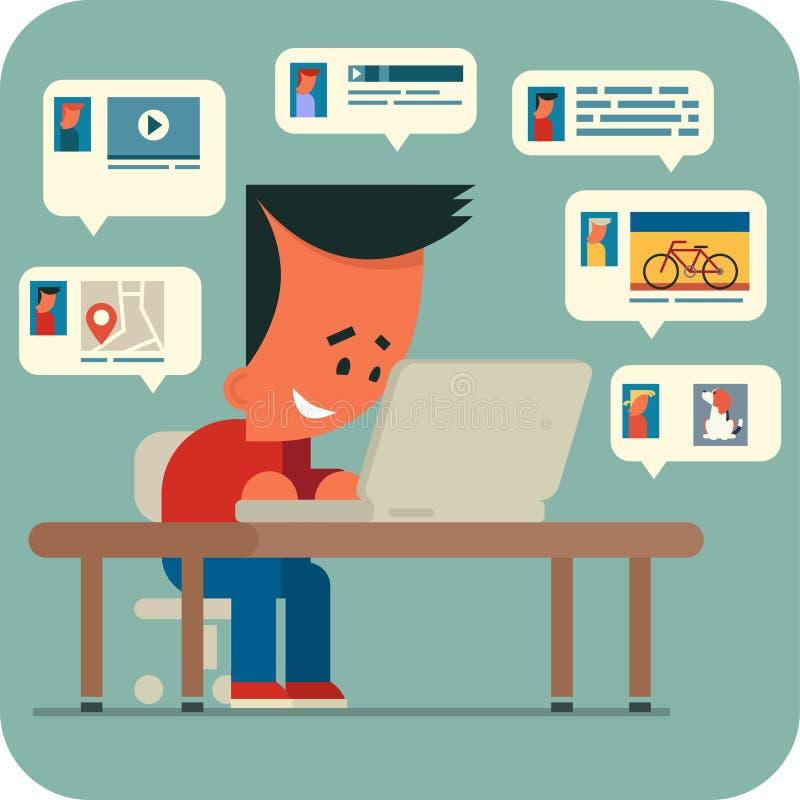 Беседовать молодого человека онлайн иллюстрация вектора