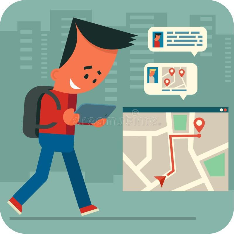 Беседовать молодого человека онлайн иллюстрация штока