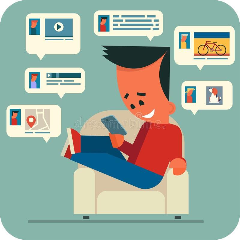 Беседовать молодого человека онлайн бесплатная иллюстрация