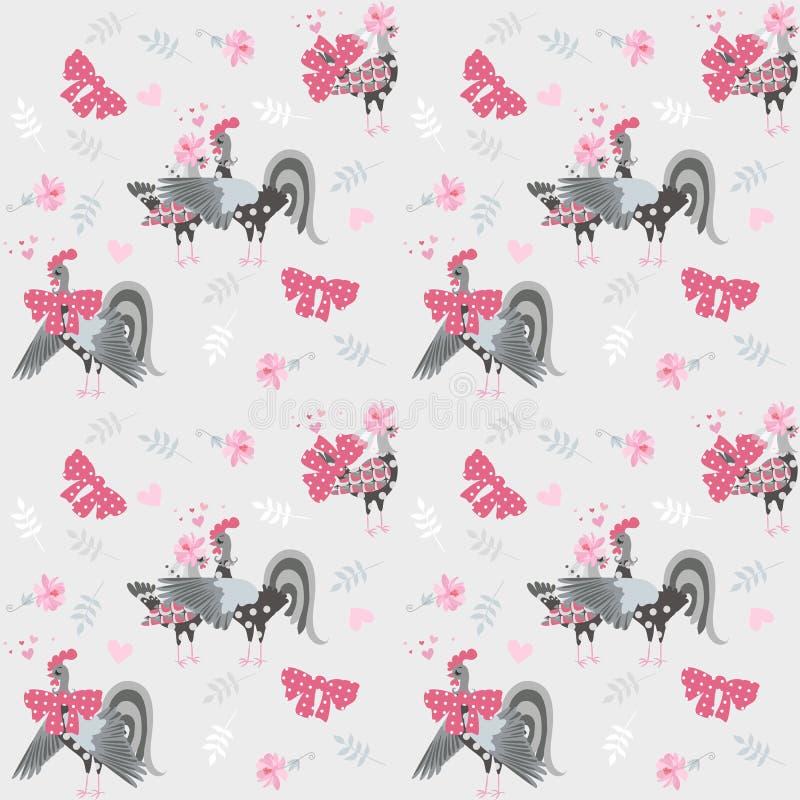 Бесконечная картина в ретро стиле со смешными петушками и цыплятами украшенными со смычками и цветками Печать для ткани иллюстрация вектора