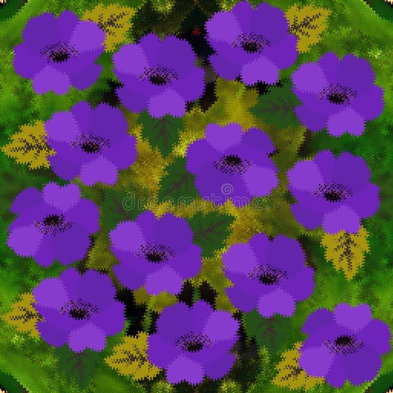 Бесконечная картина пурпурных цветков и зеленых листьев с высекаенными краями Красивый дизайн лета Печать для гобелена иллюстрация штока