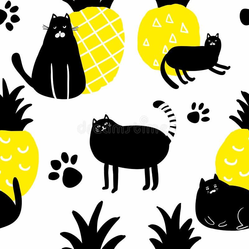 Бесконечная картина с черными котами в скандинавском простом стиле бесплатная иллюстрация