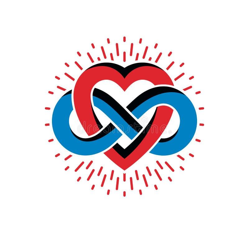 Бесконечная концепция влюбленности, символ вектора созданный с петлей безграничности иллюстрация штока
