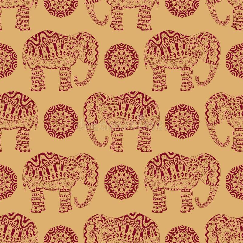 Бесконечная текстура с стилизованным сделанным по образцу слоном и мандалой в индийском стиле иллюстрация вектора