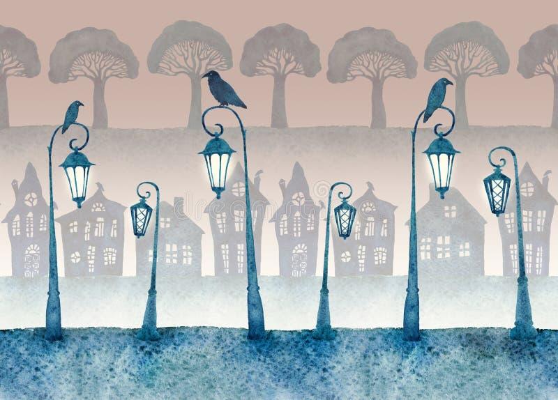 Бесконечная улица при освещенные фонарики покрашенные в акварели картина безшовная бесплатная иллюстрация