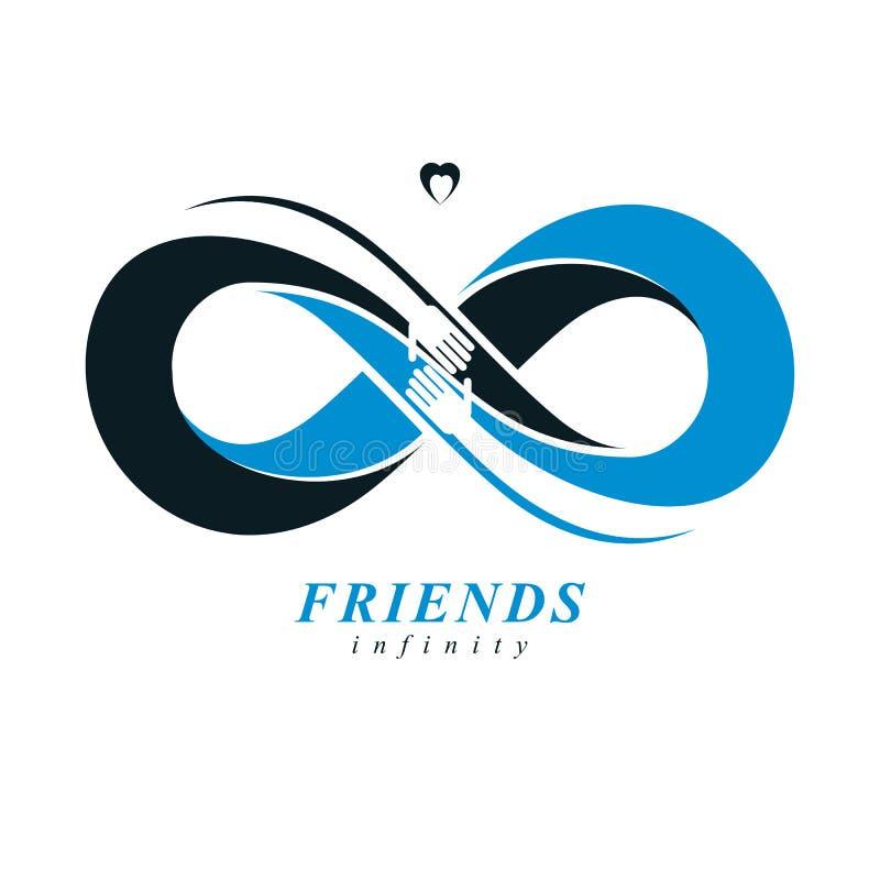 Бесконечное приятельство, друзья навсегда, особенный логотип вектора совмещенный с 2 из петли вечности и человеческие руки иллюстрация вектора