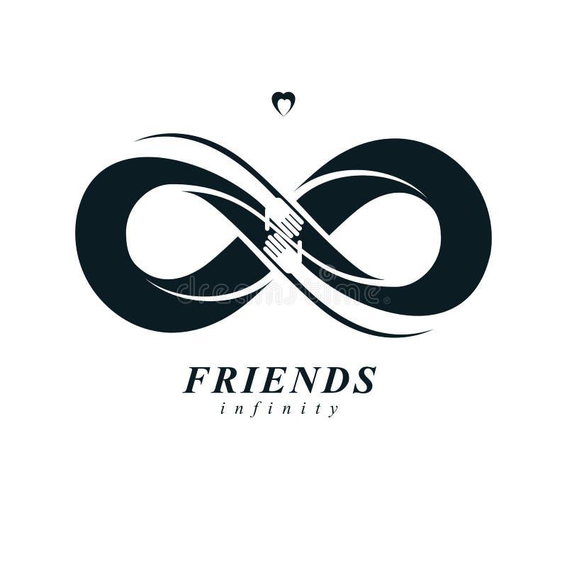 Бесконечное приятельство, друзья навсегда, особенный логотип вектора совмещенный с 2 символами петли вечности и человеческий иллюстрация вектора