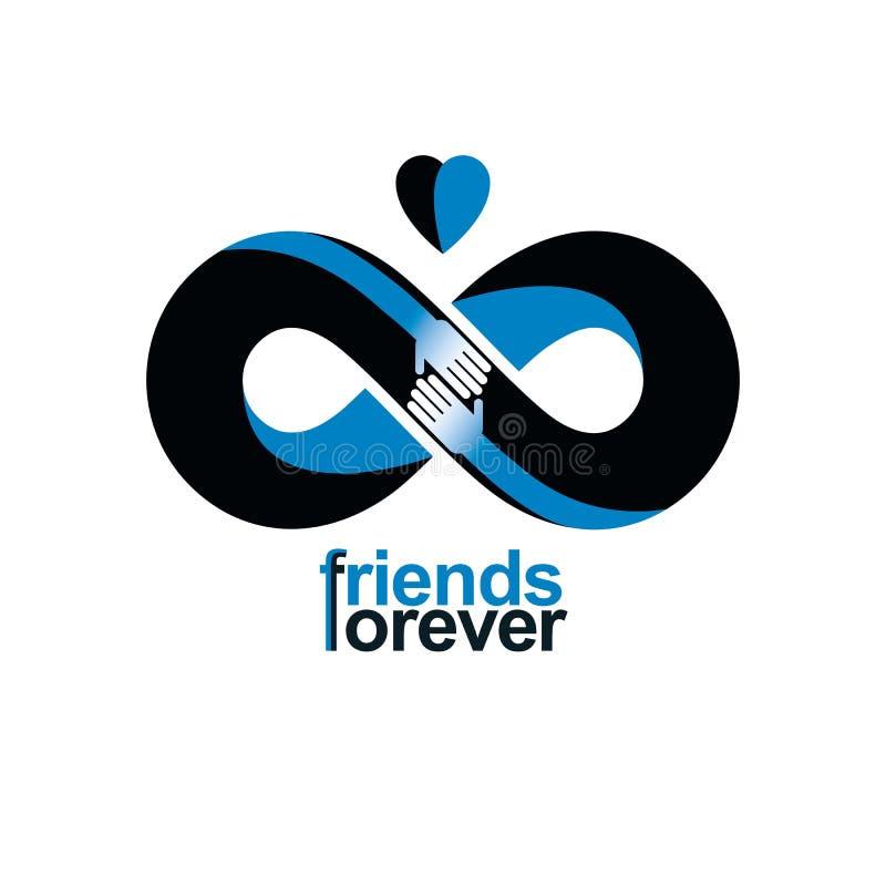 Бесконечное приятельство, друзья навсегда, специальное combin логотипа вектора иллюстрация штока
