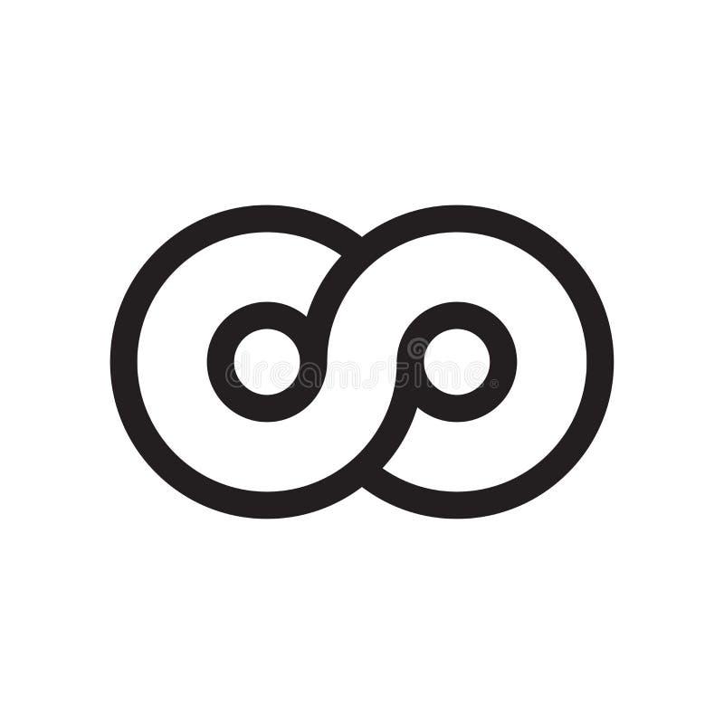 Бесконечный знак и символ вектора значка символа изолированные на белой предпосылке, бесконечной концепции логотипа символа иллюстрация вектора