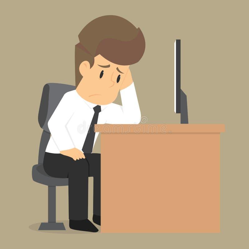 Беспокойство бизнесмена о работе иллюстрация вектора