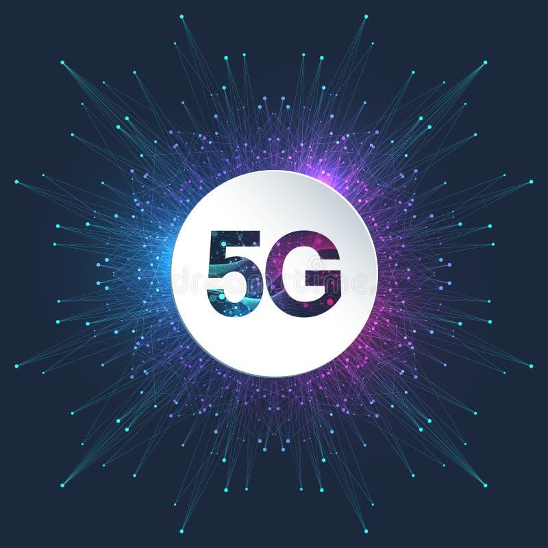 беспроводные системы сети логотипа 5G и иллюстрация вектора интернета концепция знамени 5G Знак вектора, символ 5G технология бесплатная иллюстрация
