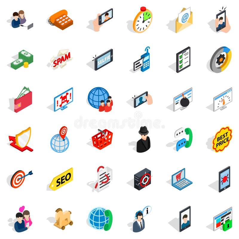 Беспроволочные установленные значки, равновеликий стиль телекоммуникаций бесплатная иллюстрация